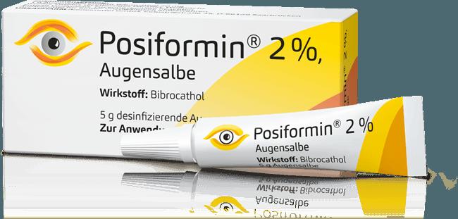 Abbildung Packung und Tube von Posiformin 2%, Augensalbe